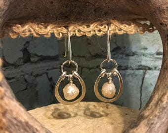 Baroque Apricot Pearl Drop Earrings