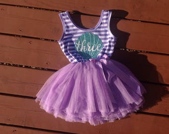 Purple Third Birthday Mermaid Dress