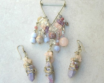Boutique Artisan Pin & Earrings, Beautiful Wire-Wrapped Stone Tumble, crystal/agate/amethyst, wear or use to make something new