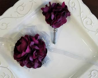 Purple Wrist Corsage Deep Purple and Silver Bling Prom Corsage With Matching Boutonniere In Clear Corsage Box