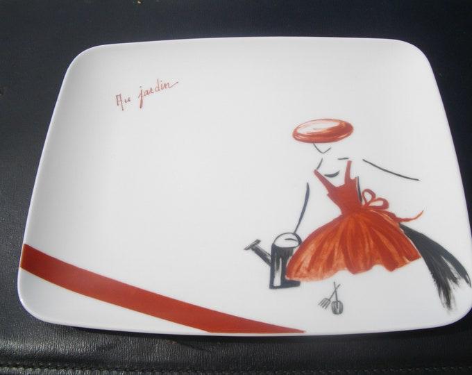 handmade plate/rectangular/painted / porcelain/handmade / garden