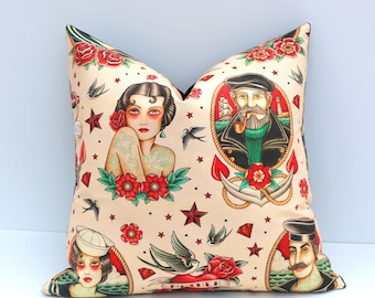 Classic Pin-up Tattoo Pillow Cover