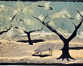 linocut, Acorn, oak tree, sun, shade, pig, nature, landscape, olive green, yellow, black, printmaking, home interior, office, study, for him