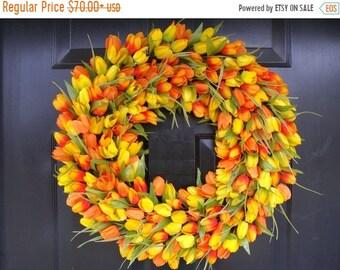 SPRING WREATH SALE Spring Wreath, Tulip Spring Wreath Custom, Spring Decor, Easter Wreath, Housewarming Gift, Orange Tulip Wreath