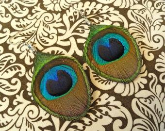 JILL in Blue Peacock Feather Earrings.