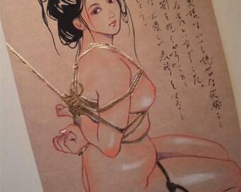 "Original Illustration PostCard「緊縛 闇を抱く」 ""Kinbaku   Yami-wo-Idaku"",Japanese fetish Art"