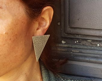 Large Triangle Earrings, Silver Geometric Earrings, Boho Earrings, Modern Earrings, Geometric Stud Earrings, Geomntric Earrings