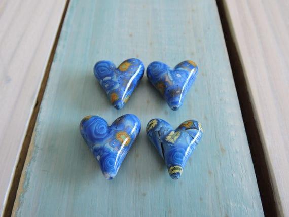 4 Piece Heart Shaped Bead Lot # 6