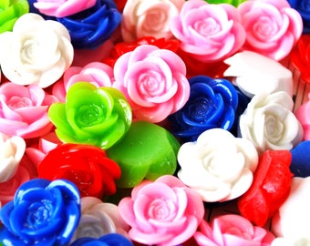 60 Pc. Resin Flower Cabochons 18 mm