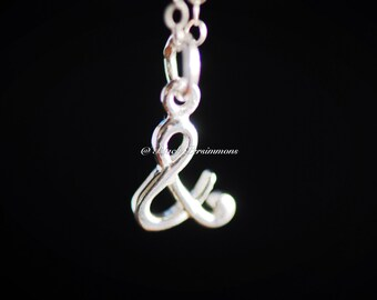 "Ampersand ""&"" And Necklace - Solid 925 Sterling Silver Charm - Insurance Included"