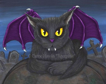 Vampire Cat Art Gothic Cat Painting Vlad Winged Cat Graveyard Fantasy Cat Art Limited Edition Canvas Print 11x14 Art For Cat Lover