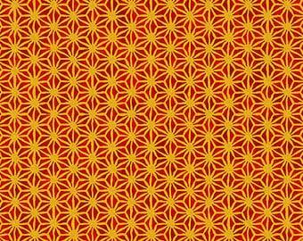 Imperial Star Design - Crimson/Gold Metallic Tonal Asian Japanese Fabric