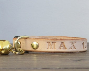 Purrfect Leather Cat Collar - Stamped Name - Breakaway Safety Leather Cat Collar - Brass