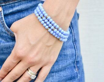 Periwinkle beaded bracelet stack