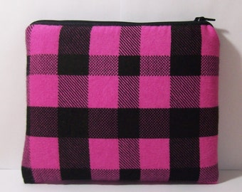 "Padded Pipe Pouch, Pink + Black Bag, Plaid Pipe Case, XL Pipe Bag, Stoner Gift, Hipster Bag, Grunge Bag, Gadget Pouch, 7.5"" x 6"" - X LARGE"
