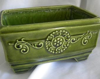 Olive Green Rectangular Planter | High Glaze | Vintage 1960s