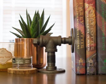 Bookends - iron pipe - industrial bookends - rustic bookends - steampunk bookends - modern bookends