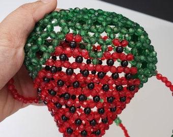 Cute Beaded Strawberry Crossbody Bag for Kids