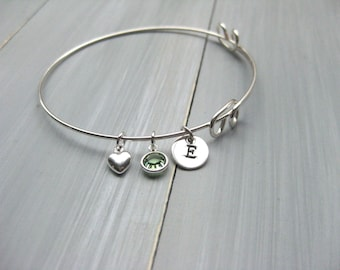 Sterling Silver Bangle Bracelet Adjustable Bangle Initial Heart Birthstone Bridesmaid Gift Mothers Bracelet New Mom Gift Birthday Gift