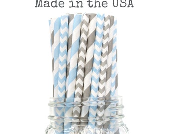 Blue and Gray Paper Straws, Baby Shower, Gray Paper Straws, Table Setting, Baby Shower Vintage Straws, Wedding, Kids, Cake Pops, Made in USA