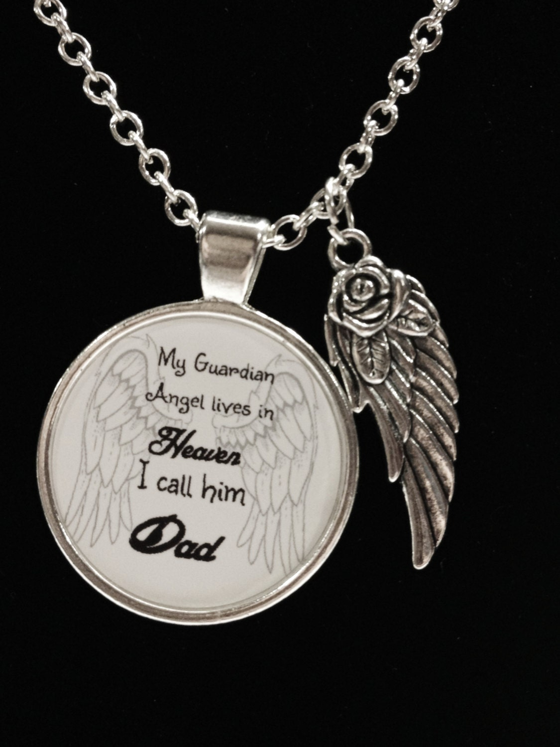 Memory necklace dad angel necklace my guardian angel lives zoom aloadofball Gallery