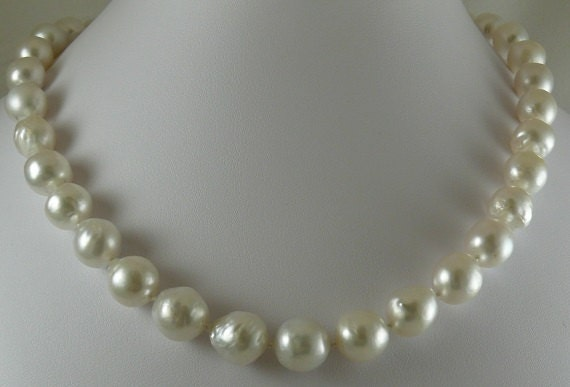 """South Sea White 12.3m x12.8mm Baroque Pearl Necklace 14K Yellow Gold Clasp 18.5"""""""