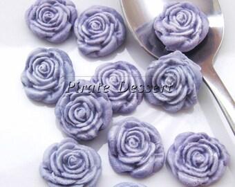 PURPLE  FONDANT ROSES  Cupcake Toppers -Sugar flowers- half inch Purple Roses -Edible cake decorations -Flower cupcakes (Purple) (12 Pieces)