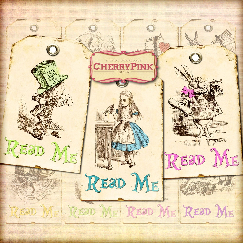 Alice in Wonderland decorations, Alice tags, Read Me tag, Alice ...
