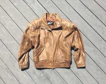 Women's Vintage 90's Soft Brown Leather Bomber Jacket || Cropped Moto Jacket || Small