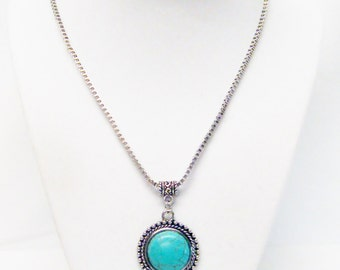 Round Silver Plated Pendant w/Turquoise Stone Necklace