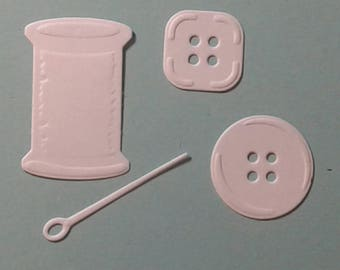 Cotton reel, buttons and needle set - intricate die cut - flat colour cardstock