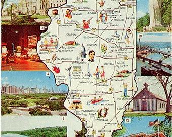 Illinois State Map Vintage Postcard (unused)