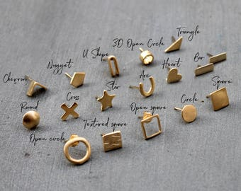 Mismatched Earrings Stud earrings gold Single earring single stud earring mix match earrings mismatched stud earrings Gold post earring