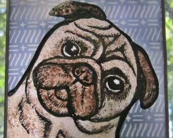 Tan Pug  Stained Glass Dog Suncatcher JRN257