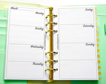 Personal Planner Inserts - Horizontal Weekly Layout - Horizontal Weekly Inserts - Planner Inserts