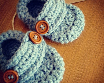 Organic Crochet Baby Blue Loafers, Shoes. Baby Shower, Baptism, New Baby Gift