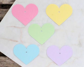 Small Pastel Heart Gift Tags, Pastel Gift Tags, Heart Favor Tags, Blank Gift Tags, Easter Parcel Tags, Rainbow Gift Tags, Heart Tags