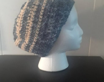 Grey and Blue Striped Crochet Beanie