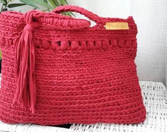 Shoulder bag tote bag, violet color choice