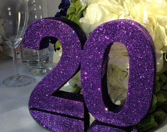 Purple wedding decor etsy purple wedding table number set of 7 purple glitter table numbers wedding decoration wooden table numbers junglespirit Images
