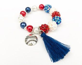 Baseball Charm Bracelet - USA Red, White and Blue Stacker Charm Bracelet - America Bracelet - American Stacker Bracelet - 4th of July