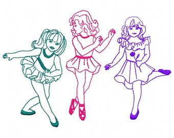3 Dancers Embroidery Design - Instant Download