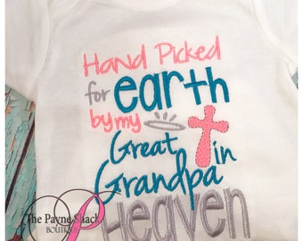 Hand Picked for Earth by my Great Grandpa in Heaven Bodysuit, Newborn Baby Clothes, Take Home Outfit, Baby Onesie, Newborn Onesie