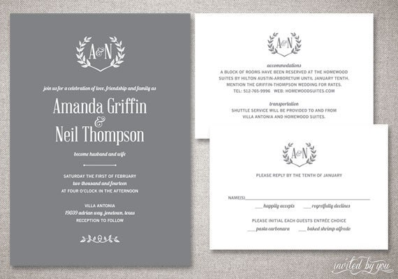 Rustic Monogram Amanda Wedding Invitations Suite