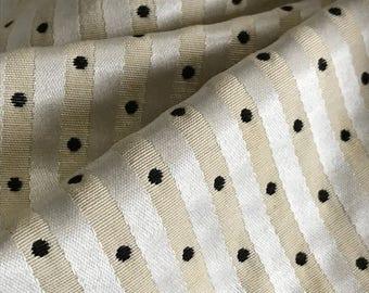 Ivory Dobby Dot Silk Stripe Upholstery Fabric