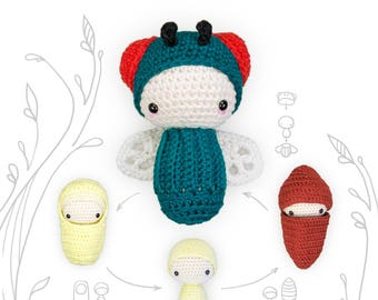 lalylala crochet pattern Green Bottle FLY • LIFE CYCLE Playset • incl. Larva, Wing Set, Egg, Cocoon