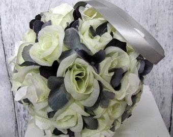 White wedding pomander,  Silk flower decoration, Flower girl kissing ball, Purple and silver wedding decor, Purple wedding accessory