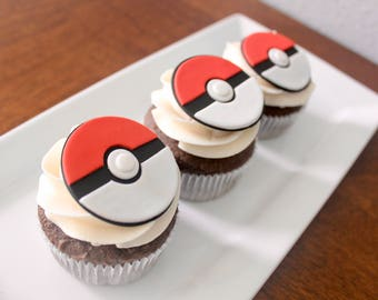 12 Pokeball Edible Pokemon Fondant Cupcake Toppers