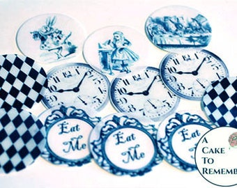 12 assorted Alice in Wonderland edible pictures for cookies and cupcake toppers. Wafer paper images, white rabbit, tea party, clocks.