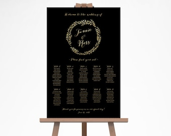 Wedding Seating Chart, Wedding Seating Plan, Printable Wedding Seating Sign, Wedding Seating Chart Template, Gold Glitter Seating Chart